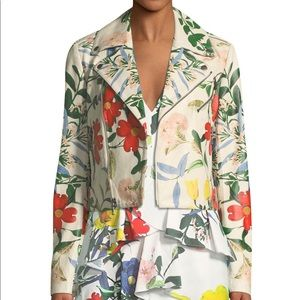 Alice + Olivia Floral Leather Jacket Moto Jacket